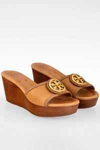Tory Burch Tan Leather Selma Wedge Mules / Size: 8M - Fit: 39