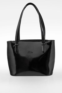 Longchamp Black Patent Leather Medium Tote Bag