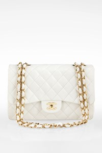 Chanel White Jumbo Quilted Lambskin Leather Classic Flap Shoulder Bag