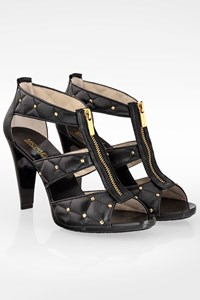 MICHAEL Michael Kors Black Quilted Leather Sandals with Golden Studs / Size: 39 - Fit: True to size