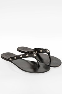 Tory Burch Black Leather Sandals with Studs / Size: 40 - Fit: True to size
