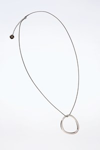 Adolfo Domínguez Silver-coloured Pendant with long Anthracite Chain