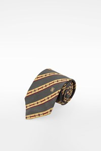 Céline Multicoloured Silk Tie with Striped Print