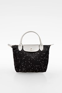 Longchamp Black Limited Edition Small Pliage Tote Bag with Silver Details