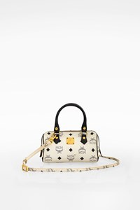 MCM White Boston Monogram Visetos Mini CrossBody Bag
