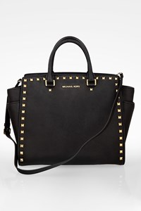MICHAEL Michael Kors Black Large Selma Studded Saffiano Tote Bag