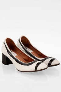 Lanvin Black and White Cube Heel Leather Cap Toe Ballet Pumps / Size: 36 - Fit: True to size