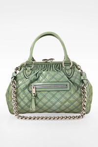 Marc Jacobs Pistachio-Green Patchwork Stam Patent-Leather Shoulder Bag with Chain