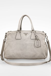 Prada Grey Wrinkled Napa Leather Antique Galleria Tote Bag