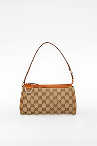 Gucci Beige GG Canvas and Leather D Ring Abbey Pochette