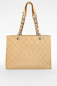 Chanel Beige Clair Quilted Caviar Leather Grand Tote Bag