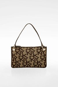DKNY Beige-Brown Canvas and Leather Pochette