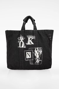 Dkny Black Canvas Logo Tote Bag