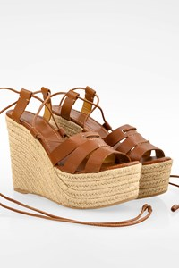 Polo Ralph Lauren Tan Leather Platforms with Raffia / Size: 39 - Fit: 38.5