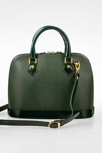Laura Giani Forest Green Leather Tote Bag with Strap