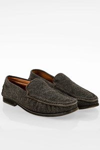 Tod's Grey Wool Loafers / Size: 35.5 - Fit: True to size