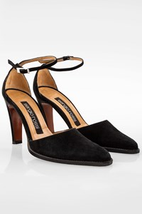 Sergio Rossi Black Suede Ankle Strap Pumps / Size: 36 - Fit: 36.5