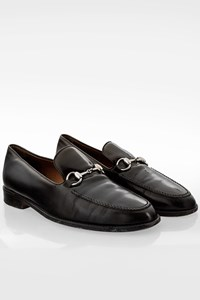 Gucci Black Leather Men's Loafers with SIlver Horsebit / Size: 43.5E - Fit: 43