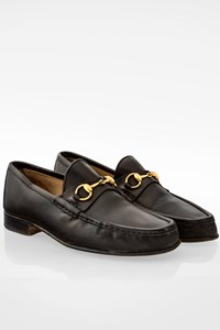 Gucci Black Leather Men's Loafers with Gold Horsebit / Size: 43E - Fit: 43