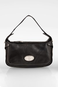 Bally Black Leather Shoulder Bag with Stitching
