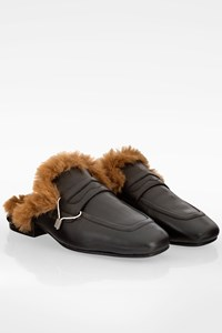 Ash Black Leather Emotion Mules with Fur / Size: 38 - Fit: True to size