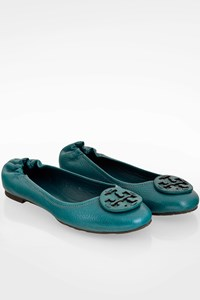 Tory Burch Teal Blue Minnie Travel Leather Ballerinas / Size: 7.5M (38) - Fit: True to size