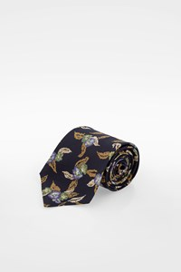 Valentino Blue Silk Tie with Flowers