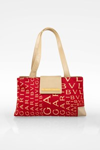 Bulgari Red Silk Shoulder Bag with Logo