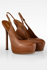 YSL Brown Leather Tribtoo 105 Slingback Pumps / Size: 38 - Fit: 38.5