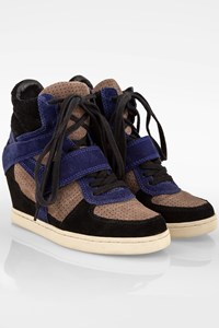 Ash Tricolor Suede Bowie Hi-Top Wedge Trainers / Size: 38 - Fit: True to size