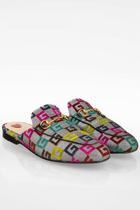 Gucci Multicolour GG Canvas Princetown Horsebit Print Mules / Size: 38 - Fit: True to size