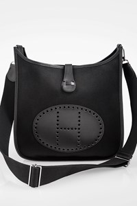 Hermès Black Clemence Leather and Canvas Evelyne III 29 Bag