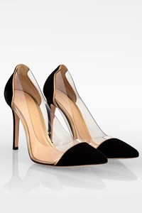 Gianvito Rossi Black Velvet And PVC Transparent Pumps / Size: 37 - Fit: 36.5 (Tight)