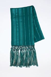 Zeus + Dione Teal Blue Melita Silk Scarf With Fringes