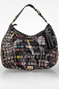 Moschino CheapAndChic Large Black Hobo Bag with Multicolored Logo