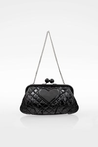 Moschino CheapAndChic Black Quilted Faux Patent Leather Clutch