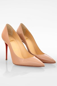 Christian Louboutin Beige Décolleté 554 100 Patent Leather Pumps / Size: 37 - Fit: True to size (Very tight)