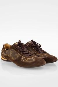 Louis Vuitton Brown Suede and Monogram Canvas Energie Sneakers / Size: 39 - Fit: True to size