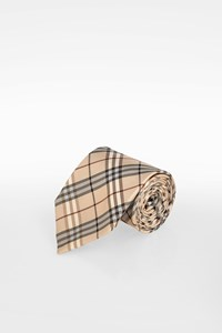 Burberry Beige Check Printed Silk Tie