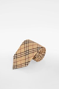Burberry Beige-Red-Black Check Printed Silk Tie