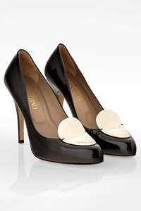 Valentino Garavani Black Patent Leather Pumps with White Design / Size: 39 - Fit: True to size
