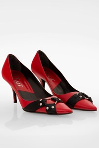 Dior Red Leather Pumps with Black Buckle / Size: 39 - Fit: True to size