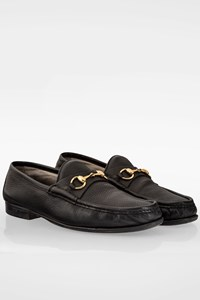 Gucci Black Leather Men's Loafers with Gold Horsebit / Size: 9 (42) - Fit: 43