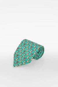 Gucci Mint Green Silk Tie with Boats Print