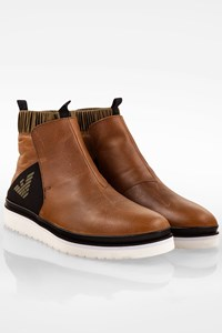 Emporio Armani Tan Leather Beatle Boots / Size: 41 - Fit: True to size