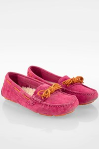 Ugg Pink Suede Moccasins with Sheepskin / Size: 38 (W7) - Fit: True to size