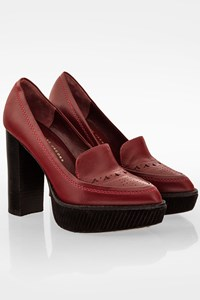 Marc By Marc Jacobs Burgundy Penny Loafers Leather Pumps / Size: 37 - Fit: True to size