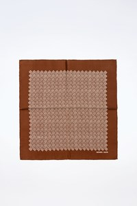 Hermès Brown Silk Pocket Square with White Print