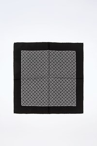Hermès Black Silk Pocket Square with Black-Grey Print