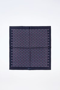 Gucci Blue Silk Printed Pocket Square